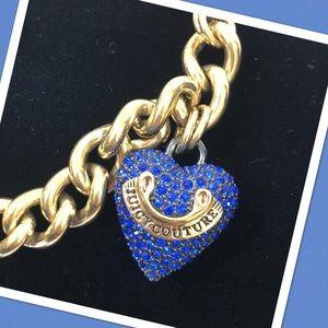 Juicy Couture Blue Rhinestone Heart Charm Bracelet